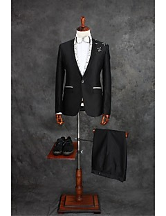 Black Gingham Tailored Fit Cotton Blend Suit - Slim Notch Single Breasted One-button