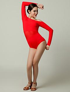 cheap Latin Dance Wear-Latin Dance Leotards Women's Performance Tulle Viscose Ruffles Long Sleeves Leotard/Onesie