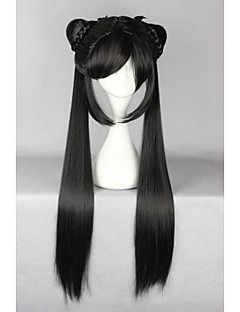 abordables Perruques de Lolita-Perruques de lolita Doux Noir Lolita Perruque Lolita  32 pouce Perruques de Cosplay Couleur Pleine Perruque Perruques d'Halloween