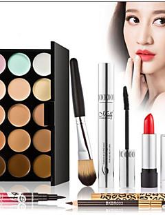 15 Concealer/kontur+Mascara+Læbestifter+Makeupbørster Våd Øjne Ansigt LæberLøftede Vipper Volumiseret Længerevarende Concealer Ujævn hud