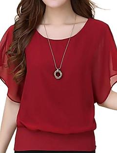 baratos -Mulheres Blusa Casual Simples Verão,Sólido Azul / Vermelho / Branco / Preto / Roxo Algodão Decote Redondo Manga Curta Média