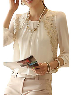 cheap -Women's Work Vintage Blouse - Solid Colored, Lace Ruched Crew Neck