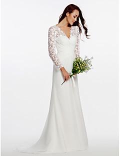 billiga Åtsmitande brudklänningar-Åtsmitande V-hals Svepsläp Chiffong / Blomsterspets Bröllopsklänningar tillverkade med Knappar / Spets / Korsvis av LAN TING BRIDE® / Illusion / Genomskinliga