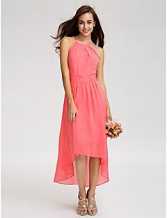 billige Romantisk rosa-A-linje Spagettistropper Asymmetrisk Georgette Brudepikekjole med Bølgemønster av LAN TING BRIDE® / Åpen rygg