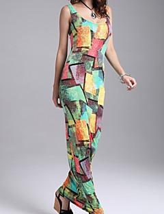 cheap Women's Dresses-Women's Beach Cotton Bodycon Dress - Galaxy Ruched Maxi U Neck
