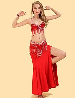 Dança do Ventre Roupa Mulheres Actuação Elastano Poliéster Pano 3 Peças Blusa Saia Cinto