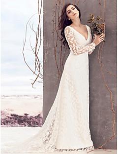 billiga Åtsmitande brudklänningar-Åtsmitande V-hals Hovsläp Spets Bröllopsklänningar tillverkade med Spets av LAN TING BRIDE® / Genomskinliga