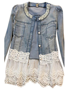 cheap Women's Blazers & Jackets-Women's Denim Jacket - Solid, Lace Beaded