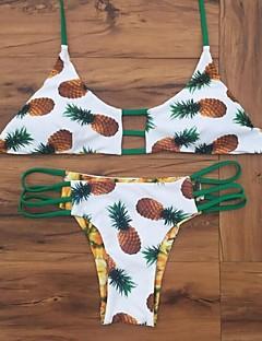 billige Bikinier og damemote 2017-Dame Bikini Badetøy Fargeblokk Trykt mønster Grime Hvit Svart