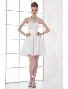 cheap Short Bridesmaid Dresses-A-Line Strapless Short / Mini Taffeta Bridesmaid Dress with Beading Bow(s) Lace by LAN TING BRIDE®