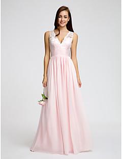 billige Romantisk rosa-A-linje V-hals Gulvlang Chiffon Livstykke i blonder Brudepikekjole med Blonder Belte / bånd Bølgemønster av LAN TING BRIDE®