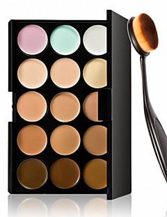 15 renk kontur yüz kremi makyaj kapatıcı paleti + oval makyaj fırça fondöten krem aracı