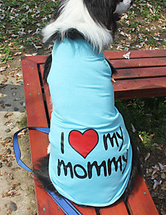 billiga Hundkläder-Katt / Hund T-shirt Hundkläder Bokstav & Nummer Grå / Blå / Rosa Cotton Kostym För husdjur Sommar Herr / Dam Mode