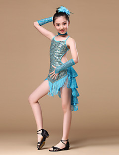 Latin Dance Outfits Children's Performance  Sequined Draped / Sequins/Tassel 5 Pieces Red / Sky blue