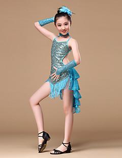 Latinské tance Úbory Dětské Výkon Polyester Filtrový Nařasený Flitry 5 kusů Rukavice Šaty Neckwear Vlasové ozdoby S:73  M:78 L:82