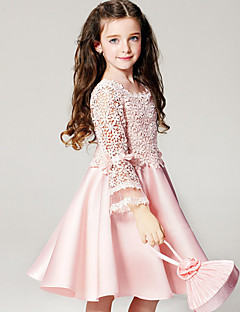 cheap Princess Wear-Girl's Dress, Polyester Summer Long Sleeves Floral Pink