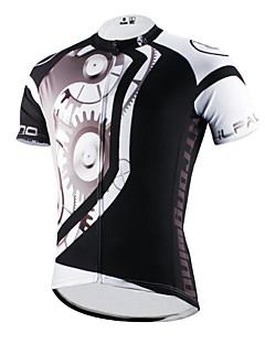 billige Sykkelklær-ILPALADINO Herre Kortermet Sykkeljersey - Svart Sykkel Jersey, Fort Tørring, Ultraviolet Motstandsdyktig, Pustende