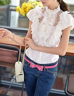 Damen Solide Hemd - Polyester / Elasthan Kurzarm Ständer
