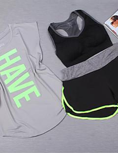 Mulheres Moletom Manga Curta Respirável Sutiã Esportivo Camiseta Shorts Conjuntos de Roupas Blusas para Ioga Exercício e Atividade Física