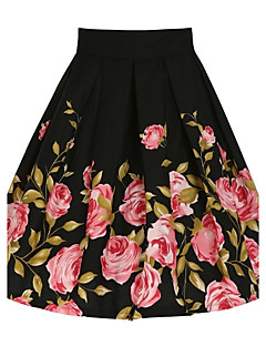 Women's Daily Knee-length Skirts,Vintage A Line Cotton Floral Summer