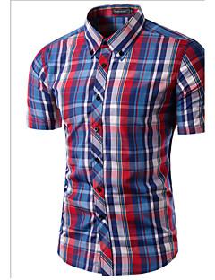 Bomull Polyester Kortermet Skjorte Stripet Ruter Fritid/hverdag Arbeid Herre