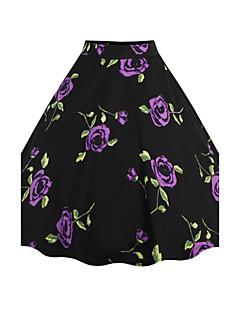 お買い得  レディーススカート-女性用 ヴィンテージ Aライン スカート - フラワー, プリント ジャカード