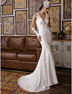 Cheap trumpetmermaid wedding dresses online trumpetmermaid mermaid trumpet v neck sweep brush train all over floral lace custom wedding dresses with beading appliques by lan ting bride junglespirit Choice Image