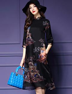 ヴィンテージ カジュアル/普段着 / プラスサイズ Aライン ドレス,プリント スタンド ミディ 七部袖 ブラック ポリエステル 春 ミッドライズ 伸縮性なし