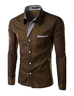 お買い得  メンズファッション&ウェア-男性用 プラスサイズ シャツ, ビジネス レギュラーカラー スリム ソリッド コットン