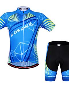 billige Sett med sykkeltrøyer og shorts/bukser-WOSAWE Kortermet Sykkeljersey med shorts - Svart/Blå Sykkel Shorts Jersey Klessett, Fort Tørring, Anatomisk design, Pustende,