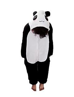 kigurumi Pijama Panda Malha Collant/Pijama Macacão Pijamas Animal Preto/Branco Patchwork Flanela Kigurumi CriançaDia Das