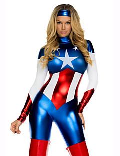 Super eroi Costume Cosplay Cosplay de Film Albastru Leotard/Onesie Pălărie Crăciun Halloween An Nou Piele lăcuită