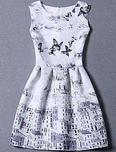 Naiset A-linja Mekko Söpö Bile Plus-koko,Painettu Pyöreä kaula-aukko Mini Hihaton Polyesteri Kesä Keski vyötärö Mikrojoustava