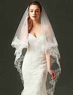 cheap Wedding Veils-One-tier Lace Applique Edge Wedding Veil Fingertip Veils 53 Embroidery Tulle