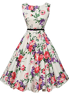 cheap Print Dresses-Women's Going out Vintage A Line Dress - Floral White, Print