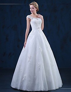 A-Line Scoop Neck Floor Length Tulle Wedding Dress with Appliques by HQY