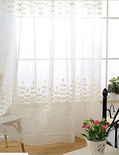 baratos Cortinas Transparentes-Barra no Interior Anéis Presilhas Duplo Plissado Único Plissado Dois Painéis Tratamento janela Regional, Bordado Sala de Jantar