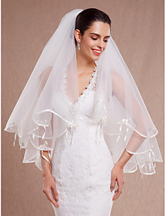 cheap Wedding Veils-Two-tier Ribbon Edge Scalloped Edge Wedding Veil Elbow Veils With Ribbon Pearls Tulle