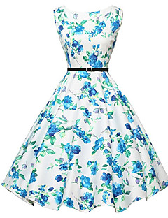 Women's Sexy / Vintage Floral A Line / Skater Dress,Round Neck Knee-length Polyester