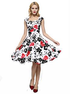 Bayanlar Dışarı Çıkma / Büyük Beden Vintage Kılıf / Çan Elbise Çiçekli,Kolsuz Kare Yaka Diz-boyu Kırmızı Pamuklu Tüm Mevsimler