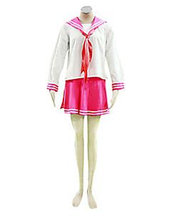 """Inspirert av Luckystar Kagami Hiiragi Anime  """"Cosplay-kostymer"""" Cosplay Klær Skoleuniformer Lapper Langermet Halsklut Topp Skjørte Til"""