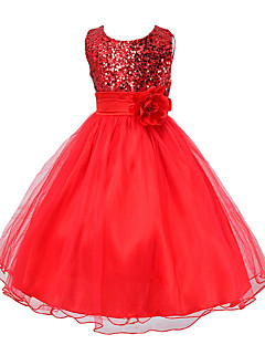 Girl's Polyester Summer Paillette Dot Printing Big Flower Belt Dress
