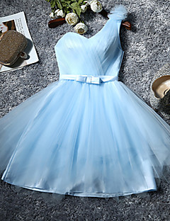 cheap Imperial Blue-A-Line One Shoulder Knee Length Tulle Bridesmaid Dress with Bow by QQC Bridal