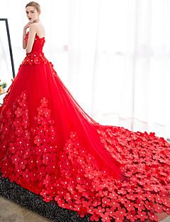 שמלת כלה סטרפלס רכבת סאטן שמלת כלה טול עם פרח על ידי כלה רקומה