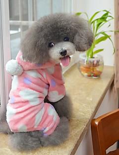 저렴한 -고양이 강아지 후드 점프 수트 파자마 강아지 의류 귀여운 캐쥬얼/데일리 포카닷 블랙 핑크 코스츔 애완 동물
