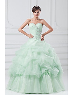 cheap Quinceanera Dresses-Ball Gown Princess Sweetheart Floor Length Organza Formal Evening Dress with Crystal Detailing Pleats Flower by LAN TING Express