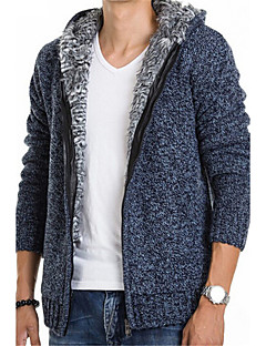 Men's Casual/Daily Simple Regular Cardigan,Solid Long Sleeves Cotton Winter Thick Stretchy