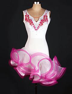 tanie Stroje do tańca latino-Taniec latynoamerykański Leotards Damskie Wydajność Spandeks Haft nakładany Bez rękawów Naturalny Ubierać