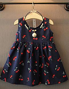 Χαμηλού Κόστους Πώληση-Νήπιο Κοριτσίστικα Λουλουδάτο Κεράσι Στάμπα Αμάνικο Φόρεμα / Βαμβάκι