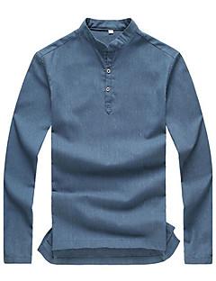 男性用 長袖 ポロシャツ,リネン カジュアル / プラスサイズ プレイン